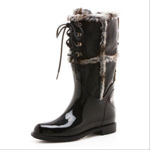 Stuart Weitzman Fur Trim Leather Rain/Snow boots
